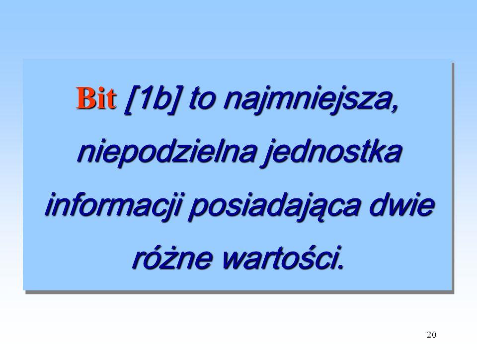 Bit [1b] to najmniejsza, niepodzielna jednostka informacji posiadająca dwie różne wartości.